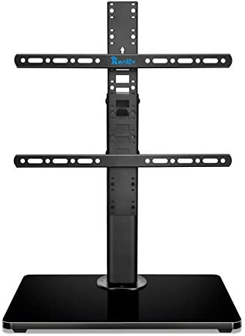 Rentliv Universal TV Stand Base - Tabletop TV Stand for 32-55 inch TVs with Wooden Base - 8 Level Height Adjustable TV Mount Stand and Cable Management - Max VESA 400x400mm Holds up to 99LBS