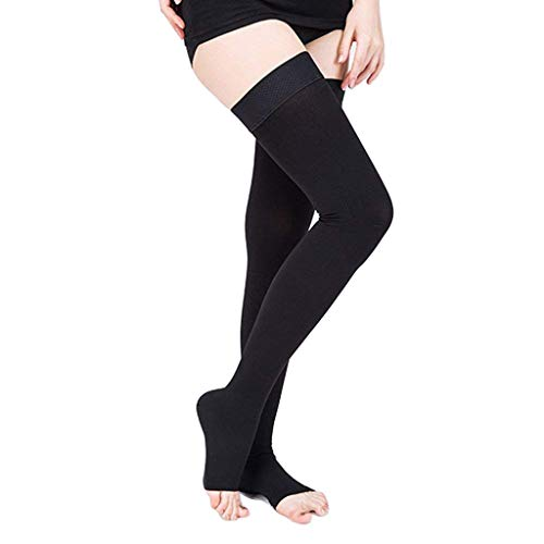 f3fad34b9c ... SWOLF Thigh High Compression Stockings Women Men, Open Toe Firm Support  20-30 mmHg