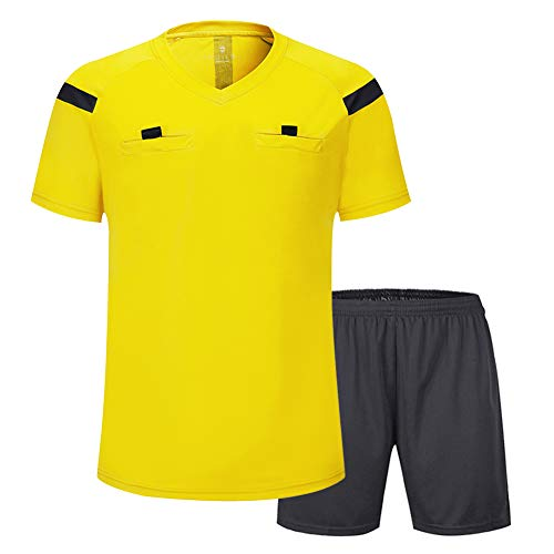 - Shinestone Soccer Short Sleeves Referee Jersey Men's Referee Shirt (Yellow, Medium)