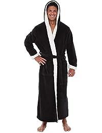 Mens Fleece Solid Colored Robe, Long Hooded Bathrobe