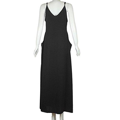 Long Black Dress Neck Summer Dress V Hippie Pocket Cocktail Sleeveless Lady's Party Boho Tian Beach G Maxi Womens Tfxwq448