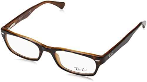 16131568041 Ray-Ban Women s 0rx5150 No Polarization Rectangular Prescription Eyewear  Frame Top Havana on Light Brown