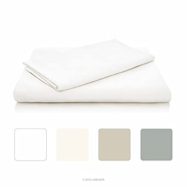 LINENSPA Ultra Soft Luxury 100% Rayon from Bamboo Sheet Set - Queen - White