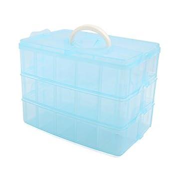 Amazon.com: eDealMax plástico Azul Grande 3 capas 30 ranuras ...