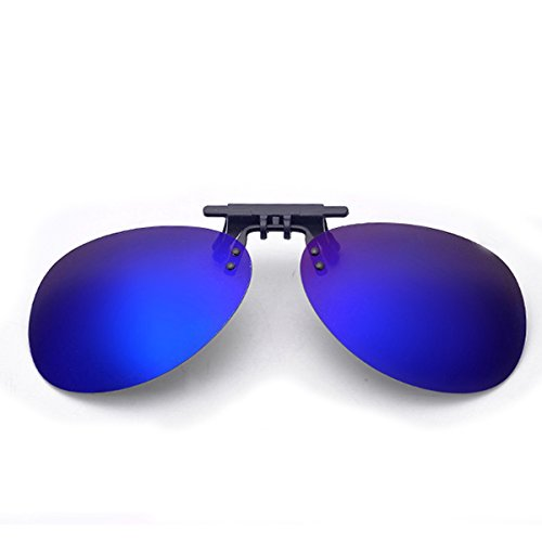 Clip On Sunglasses Men's Titanium Flexible Polarized Lenses Glasses Laura Fairy (C1-Dark blue, - Glasses Clip Dark On