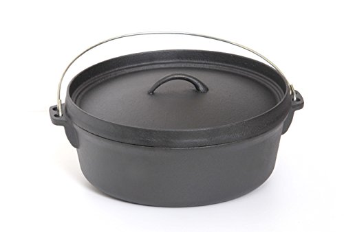 Guro Pre-Seasoned Cast Iron Round Dutch Oven, Black, 4.7QT / 8.45QT (8.45QT / 8 Liters)