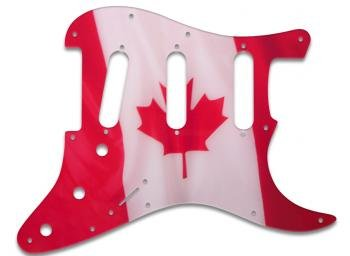 CANADIAN FLAG PICKGUARD FOR FENDER STRAT, HAND CRAFTED IN