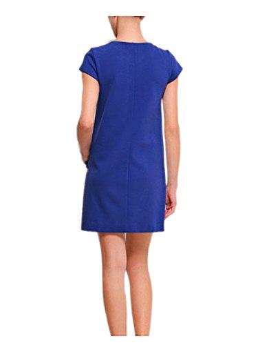 Mancherons Encolure Ras Du Cou Pour Ca Les Femmes De La Mode Poches Robe Chasuble Bleu
