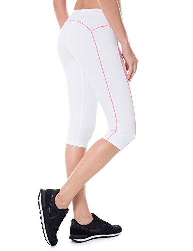 SYROKAN - Mallas Deportivas Cortas Para Mujer (corte de 3/4) Blanco