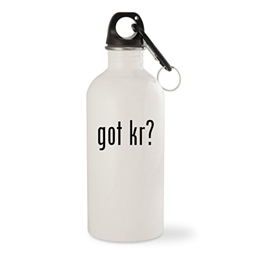 got Kr? - White 20oz Stainless Steel Water Bottle with Carabiner