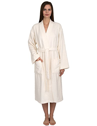 TowelSelections Women's Robe Turkish Cotton Terry Kimono Bathrobe X-Small/Small Ivory ()