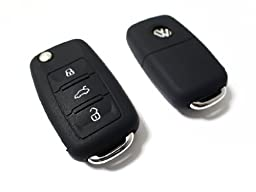 BLACK SILICONE COVER FOR VW 3-BUTTON REMOTE FOLDING FLIP KEY