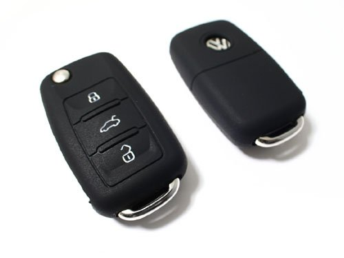 BLACK SILICONE COVER FOR VW 3-BUTTON REMOTE FOLDING FLIP KEY ProMotoring