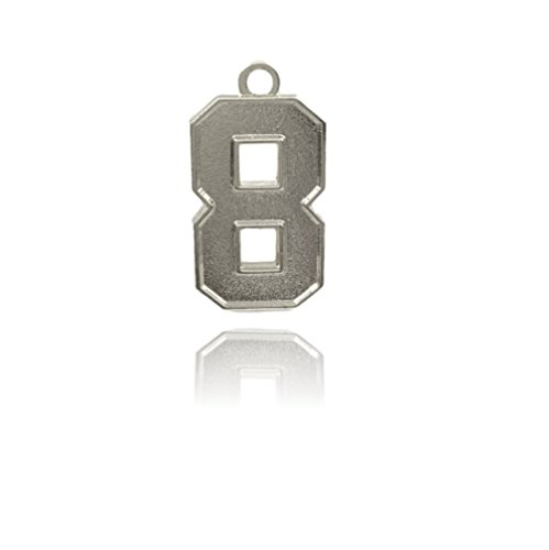 Number 8 Jersey Style Sports Necklace Charm Pendant (0.8'' Tall - Standard Size) SILVER PLATED Perfect For: Football, Baseball, Basketball, Soccer, Hockey, Softball, Volleyball, Lacrosse & More by CustomNumberCharms