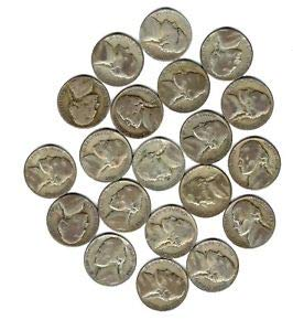 (1942 Various Mint Marks - 1945 War Nickels (20 Coin Lot) $1 Face Value 35% Silver Fine)