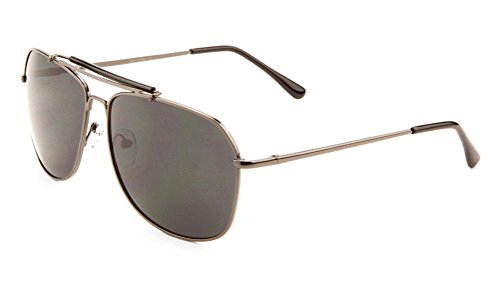 Classic Outdoorsman Aviator Sunglasses w/ Brow Bar (Gunmetal Frame, - Bar Sunglasses