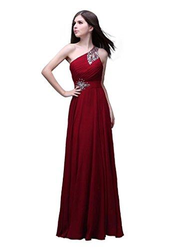 Kmformals Damen eine Schulter lange prom Kleider Burgund ihQ3mA2 ...