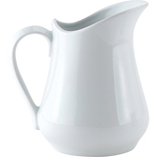 White Creamer Pitcher (HIC Creamer Pitcher with Handle, Fine White Porcelain, 8-Ounces)
