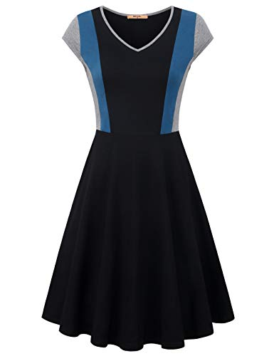 - MCKOL Color Block Dress, Women's Short Sleeve V Neck A Line Striped Color Block Elegant Jersey Flowy Midi Dress (Black,Large)