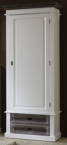 Dielenschrank in Fichte matt weiß lackiert, im modernen Vintage Look 10501107