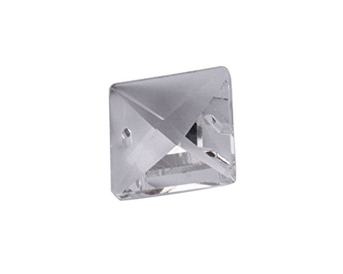 ChangJin 20PCS 2 Holes Clear Crystal Glass Square Chandelier Parts 20mm (20)