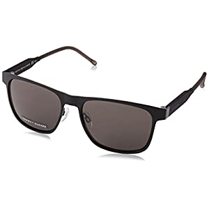 Tommy Hilfiger Th1394s Rectangular Sunglasses, Matte Black Gray/Brown Gray, 56 mm