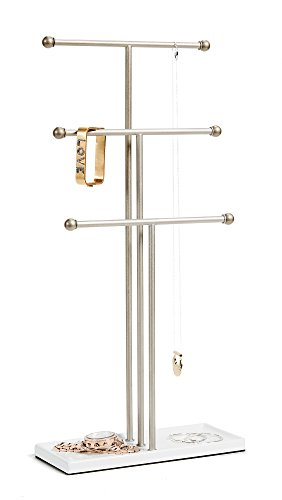 Umbra Trigem Hanging Jewelry Organizer – 3 Tier Extra Tall Tabletop Necklace Holder, Jewelry Display Stand Tree with Ring Tray to Organize Necklaces, Bracelets, Earrings, Rings, Watches, White/Nickel