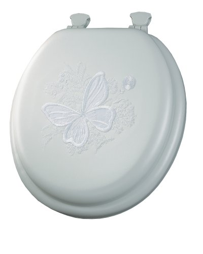 MAYFAIR Soft Toilet Seat with Embroidered Butterfly Easily Remove, ROUND, Padded with Wood Core, White, 1386EC