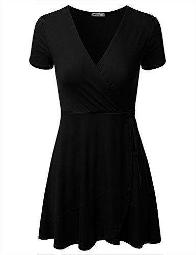 NINEXIS Short Line black Womens Dress Awdsd0771 A Surplice Wrap Sleeve q1vRgqa