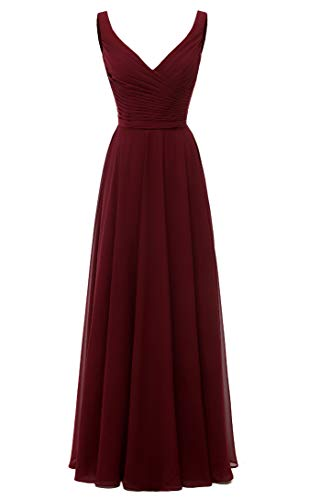 AlfaBridal Long Bridesmaid Dresses Double V Neck Chiffon Wedding Evening Gown Burgundy US18W