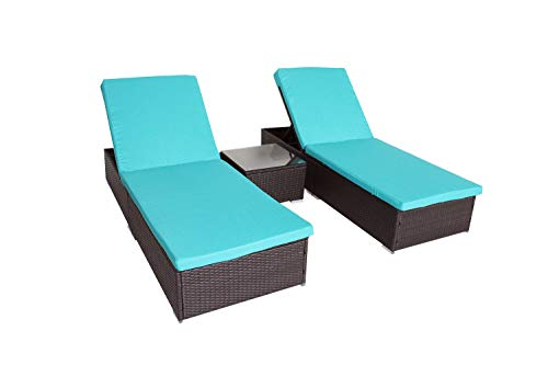 JETIME Patio Chaise Lounge 3Pcs Coffee Wicker Lounger Adjustable Daybed Garden Lounger Set Backyard Pool Rattan Chaise Turqoise Plus Beige Cushion with Side Coffee ()