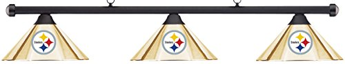NFL Pittsburgh Steelers Brass Metal Shade/Black Bar Billiard Pool Table Light - Bar Black Shade Pool Table
