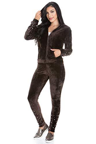 Jacket Velour Hoodie Brown - My Yuccie Women's Casual Hoodie and Sweatpants Basic Active Tracksuit Set,Velvet Brown,Small / Medium