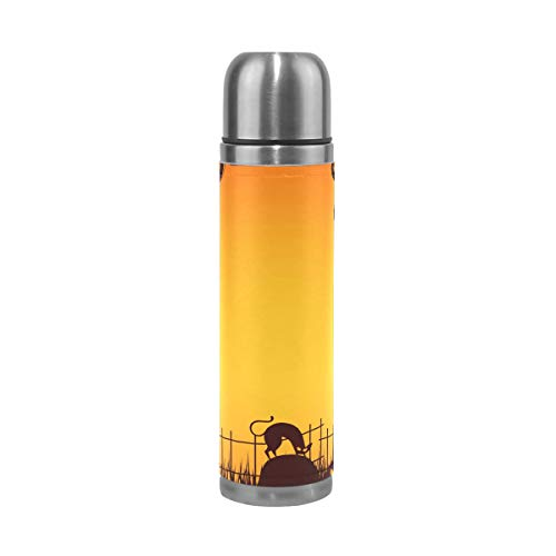 Halloween Pumpkin Cemetery Stainless Steel Water Bottle Genuine Leather Insulated Vacuum Cup 14oz Double Walled Thermos for Sport Events -