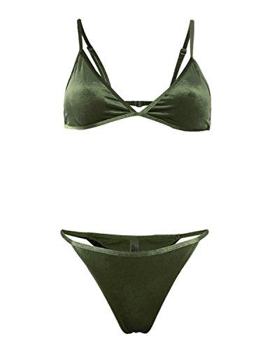 MODETREND Mujer Bañador Biquinis de Terciopelo Doble Cara Bikinis Push up Tops de Bikini y Braguitas Traje de Baño Beachwear Swimsuit Swimwear Verde