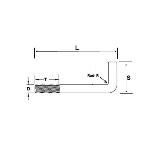 Foundation Bolt (Anchor Or L-Bolt) M20 x 300 mm Galvanised Mild Steel Pack Size : 1