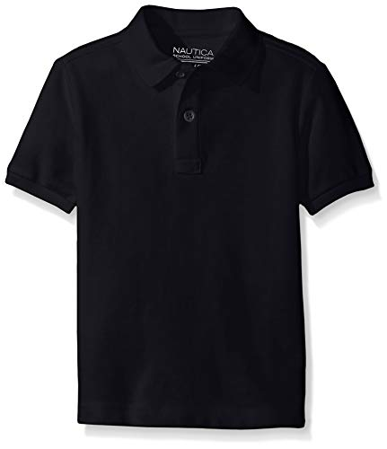 Nautica Big Boys' Uniform Short Sleeve Pique Polo, Navy, Large/14/16