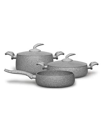 Rossetti® Elementi Natura Made in Italy | Limited Edition Porcelain Enamel 5 Piece Organic Luxury Cooking Set | Stone Grey | No-Mess No-Fuss Carefree Cookware Set | Dishwasher Safe | PFOA-free