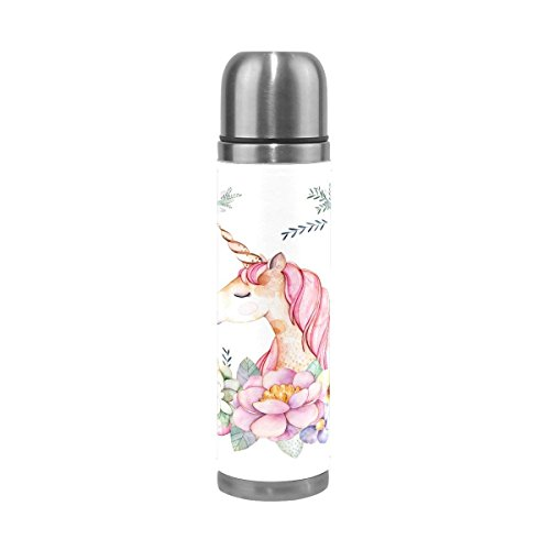 Unicorn Flower Stainless Steel Double Wall Vacuum Insulated Water Bottle 17 Oz Leak Proof Thermos Flask for Hot and Cold Beverages (Stanley 24 Oz Utility Ss Water Bottle)