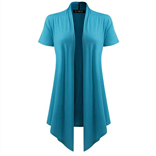 DONTAL Women's Soft Drape Cardigan Short Sleeve Smock Sun Wear Blouse Tops Clothes Kimono Sky Blue