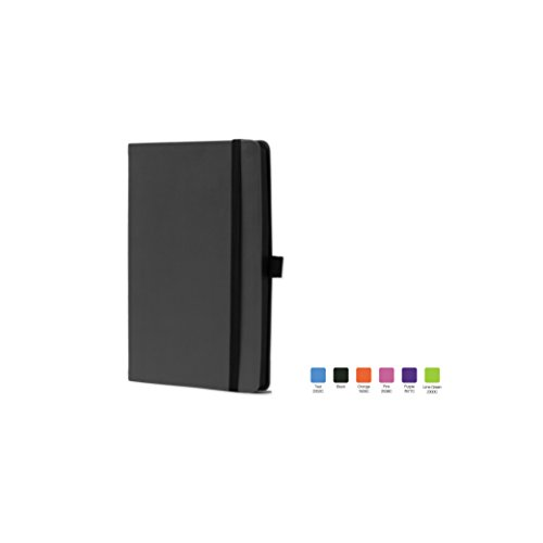 CALYPSO Ruled, Flexicover Notebook Journal with Premium Paper, 192 Lined Pages, Pen loop, Bookmark ribbon, Gusseted back pocket, Black Cover, Size 5.5