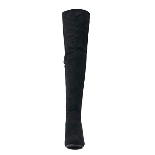 The Heel Over Women's High Thigh Heart Blackv3 High Boots Up Sexy Platform Guilty Pull Suede Stiletto Knee qYfwx7X