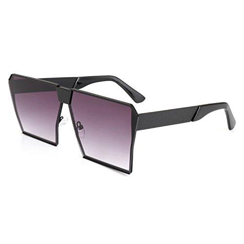 ROYAL GIRL Classic Square Women Sunglasses Retro Oversize Metal Frame Flat Top Sun Glasses (Black Gray Gradient, 70)