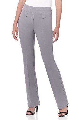 Rekucci Women's Secret Figure Pull-On Knit Bootcut Pant w/Tummy Control (16SHORT,Silver)