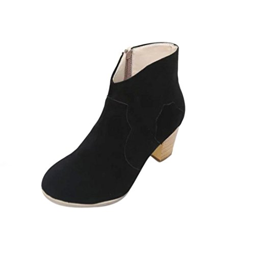 Bestoppen Womens Martin Boots Black,Ladies Sexy High Heel Ankle Boots Women Winter Warm Leather Short Shoes Fashion Girls Casual Thick Outdoor Shoes Party Shoes (EU:39, Khaki) Black 2