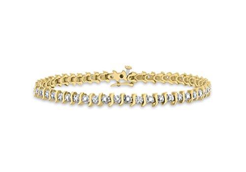 """Jewellery World Bague en or jaune 9carats Diamant S Bracelet Femme-18cm/7"""""""