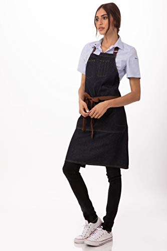 Chef Works Unisex Memphis Bib Apron, Indigo Blue, One Size (Fireplaces Cooking For Kitchen)