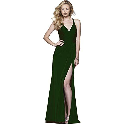 Faviana Womens Satin Prom Evening Dress Green 4