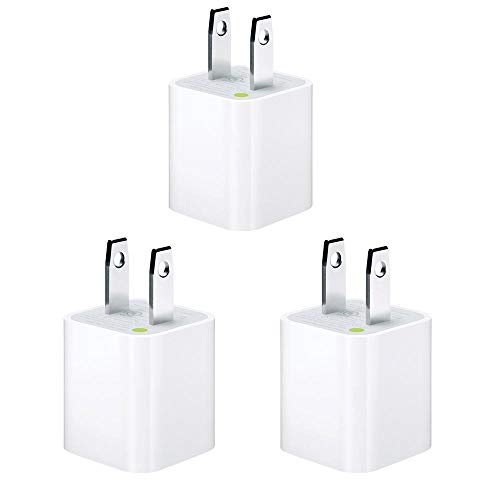 Apple 5W Wall Charger/Adapter Cube for All iPhones, iPods and iPads - 3 Pack, Value Bundle - Bulk Packaging (Renewed)