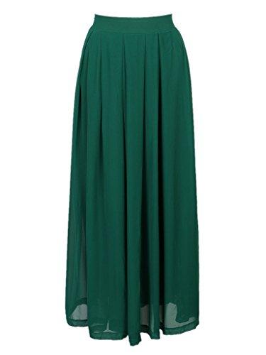 PERSUN Womens Green Chiffon Pleated